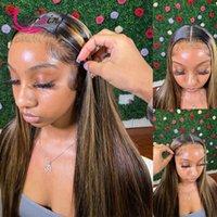 Resaltar miel rubia 13x6 encaje frontal peluca pre arranque color recto hd transparente encaje frontal peluca brasileño cabello humano