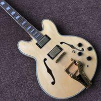 Neue Standard-Gewohnheit, f Hohlkörper-E-Gitarre, natürliche Holzfarbe Gitaar, Musikinstrumente Guitarra, Vibrato-System