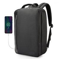 حقيبة الظهر متعددة الوظائف الأعمال التجارية الرجال النساء مكتب العمل حقيبة USB شحن مكافحة سرقة 15.6 بوصة محمول bagpack للماء 1