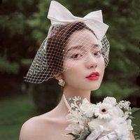 Mode Braut Haarbrühe Hut Hochzeit Schleier Bridcage Foto Porträt Blume Bowknot Kopfschmuck Hairpin Gaze Cover Das Gesicht