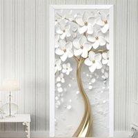 Etiqueta engomada autoadhesiva de la puerta 3D Estéreo blanco Flores mural Papel pintado Sala de la sala Dormitorio Detalle Decoración Detalle Poster Pegatina impermeable T200609