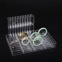 Joyería de la pulsera Acrílico Caja de almacenamiento caja de anillo del pendiente del brazalete de la joyería del sostenedor del organizador de bandeja de la exhibición pulsera del escaparate