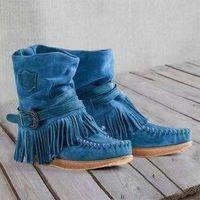 Stiefel Akexiya Frauen Cowboy Classic Fransed Westernder Cowgirl Tow Heels Schuhe Knie Hohe Frauen Winter