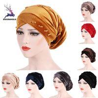 DOUDOULU Femme laides Chapeaux femmes musulmanes perlage Perle Ruffle Chapeau Bonnet écharpe Turban tête Wrap Casquette 2020 #SS