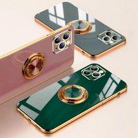 Anello di lusso di caso per l'iPhone 12 11 Pro Max XS XR X S 7 8 Plus SE 2020 Mini placcatura del silicone di TPU Soft Cover con l'anello supporto del basamento