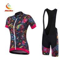 Malciklo kadın Kısa Kollu Bisiklet Forması Bib Şortlu Siyah Turuncu + Beyaz Çiçek Botanik Artı Boyutu Bisiklet Giyim Suit1