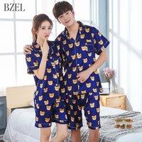 Bzel Couples Pyjamas Ensemble Courbe à manches courtes + Shorts Kear Kear Wear Wearwear Nightwear Satin Amants Vêtements Été Pijama Mujer Pyjamas Femmes Y200708