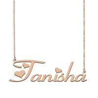 قلادة اللوحة اسم Tanisha قلادة مخصص للمرأة بنات هدية عيد ميلاد للأطفال أفضل الأصدقاء مجوهرات 18k الذهب مطلي الفولاذ المقاوم للصدأ