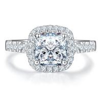 18k vitguldpläterad 2ct Zircon diamantring för kvinnor sterling silver smycken halo kudde ring pt950 stämplat kudde ring engagemang