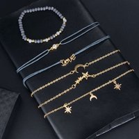 High Quality European and American New Elegant Star Moon Personalized Pendant Bracelet Handmade String Gray Beads Bracelet Six-Piece Bracele