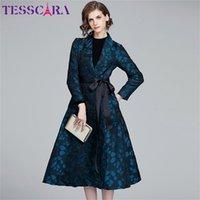 Tesscara Femmes Automne Printemps Luxe Jacquard Blazer Trench Coat Femme Vintage Designer Elegant Office Dames Manteaux Vêtements d'extérieur 201211