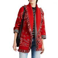 Boho Inspiré Greded Cashmere Cardigan à la mode rouge Jacquard Cardigan surdimensionné Silhouette à manches longues à manches longues 1