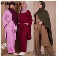 3 Piece Set Blouse Wide Leg Pants Solid Cardigan Women Dubai Muslim Abaya Lace-up Kaftan Islam Turky Casual Set Islamic Clothing 201007