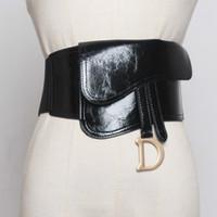 Cinturón de cuero negro Cinturón de cintura Mujeres 2020 Moda D Hebilla Cinturón PU Aceite de PU Sello de cuero Señoras Elástico Elástico Mujer Cinturón Vestido Decorativo