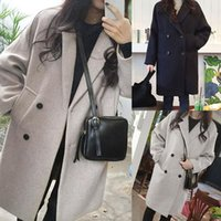 New Thin Wool Blend Coat Women Long Sleeve Turn- down Collar ...