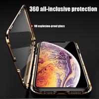 360 Metal Manyetik Tasarımcı Telefon Kılıfı Foriphone 11 Pro Max Için iPhone 11 Durumda XR XS Max 6 6 S 7 8 Artı Çift Yan Temperli Cam Kapak