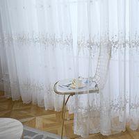 Tenda in tulle ricamato coreano bianco per soggiorno Blue Sheer Tenda per la camera da letto Drappes 40 LJ201224