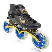 Pasendi 탄소 레이싱 스케이트 3 륜 롤러 인라인 스케이트 속도 남자 여성 전문 3x100 / 110 프레임 성인 스피드 스케이팅 슈즈 1