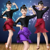Etapa desgaste infantil baile latino traje de jazz estilo estilo ejercicio ropa de ejercicio vestido de competencia para niñas1