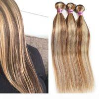 Nami Brown und Blondine Highlight Farbe Ombre Human Hair Bündel mit Verschluss Frontal Klavierfarbe 8 613 Gerade Körperwelle Haarverlängerungen