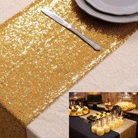 LQIAO 3MM Table de table à paillettes Glitter Gold Table Drapeau Fournitures Fournitures Tissu Décoration de Tissu pour la maison Anniversaire de mariage Baby Douche1