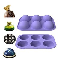 Pastel de cupcake Herramienta de cocina DIY Muffin Herramienta 6 hoyos de silicona Molde para hornear para hornear 3D Bakeware Chocolate Half Ball Ball Mold T3i51562