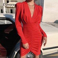 Lipswag Sexy V-образным вырезом слойки с длинным рукавом, плиссированные MIDI платье женщин осень тонкий клубная ночная вечеринка платье элегантное bodycon платья vestidos y200102