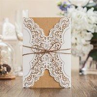 Nueva tarjeta de invitación blanca Fiesta de evento Suministros de fiesta de corte láser elegante decoración de papel romántico invitado de encaje flor invitacion 1