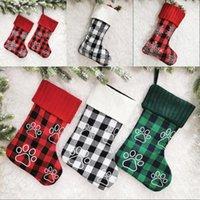 Checker Red Cheaker Noël Sac de chiens Patte à neige Imprimé Snowflake Ticking Sacs-cadeaux Senières de bronzage 18 pouces Ornement d'arbre de Noël 14GM G2
