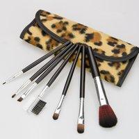 7pc / набор Leopard Макияж Кисти Косметика Фонд Румяна Тени для век Кисти Kit Девочка Женщины Лицевые инструменты Уход красоты с Leopard сумка