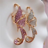 Pełna diamentowe kolczyki motyl elf douszny mankiet no przebite ucho klips wiszące kolczyki moda biżuteria kolczyk uszu mankiet 104 l2