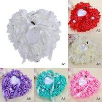 Gift Wrap Hart-Shape Trouwring Box Kussen Valentijnsdag Kussen Bridal Ceremony Decor Arrival1