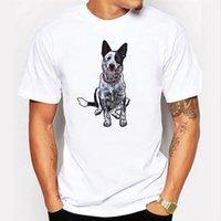 Perro impreso de manga corta de manga corta Camiseta de moda casual para hombres Top Top Top