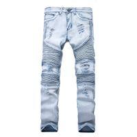 Representam calças de vestuário slp azul / preto destruído mens slim denim reto motociclista skinny jeans homens rasgados jeans
