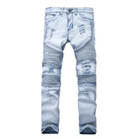 Representar pantalones de ropa SLP Azul / Negro Destruido para hombre Denim delgado Denim Biker Skinny Jeans Hombres Ripped Jeans