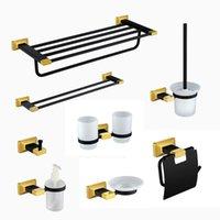 Conjunto de accesorios de baño Productos de baño de oro negro Montado en la pared Toalla de toalla Toliet Hardware de lujo moderno AR80
