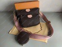 Мода роскошный дизайнер классические женские сумки печать буква цепь сумка подлинное высококачественная кожаная карта кошелька Crossbody кошелек мешок сумка