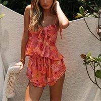 Kadın Eşofman Moda Kadın 2 adet Yaz Summer Boho Çiçek Desen Kolsuz Tank Tops Şort Gevşek Rahat Giyim Setleri Summer1