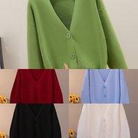 Bygouby Solide Knit Cardigans Pull Sweater Femmes V cou Voler Pull Pull avec poche Automne hiver épaissir Open Cardigan Veste Manteau W1217