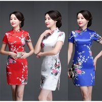 شيونغسام صيف 2019 جديد نمط المرأة النمط الصيني أزياء الأزياء الفتاة قصيرة طول الفستان الحرير المجيد T200623