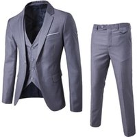 Men's Suits & Blazers 2021 Weeding Office Set Blazer Formal Dress Waistcoat Groom Man Suit Exquisite Thin Slim Business Male