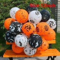 10шт шары для Хэллоуина украшения партии Supplies тыквы черепа паука Скелет Latex Надувные шары Оранжевый Черный
