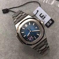 탑 U1 공장 망 시계 움직임 새겨진 파란색 다이얼 자동 기계식 스테인레스 스틸 투명 백 남자 시계 손목 시계