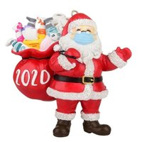 3D Resin Santa Claus Carries Packaging Gift Christmas Orname...