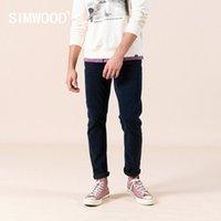Simwood Primavera New Slim Caper Calças de Jeans Homens Black Blue Denim Calças Plus Size Alta Qualidade Jean Marca Roupas SJ110162 201111