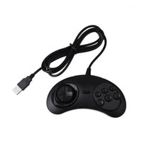 Gamepad 유선 6 키 USB 게임 컨트롤러 Joypad Genesis / MD PC / 2 Y1301 Mac 블랙 플라스틱 1