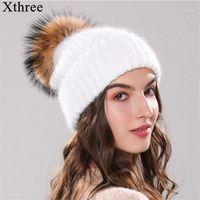 Mütze / Schädelkappen Xthree 70% Angola Pelz Gestrickte Hut mit echtem Pom Skululie Beanie Winter für Frauen Mädchen Weibliche Cap1