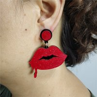 Halloween-Tropfen-Ohrring für Frau Glitter Red Blood Lippen mit schwarz Fledermaus-Logo Gothic Frauen baumeln Ohrringe Schmuck Accessoires