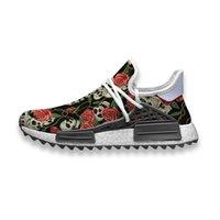 Özel Koşu Ayakkabıları Kafatası ve Güller Duvar Kağıtları İnsan Yarışı NMD Trail Erkek Rahat Sneakers Nefes