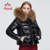 пальто женщин Астрид Новая зимняя женская теплая густая парка моды черный короткий пиджак с енота меховой капюшон женской одежды 7267 201023